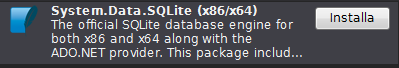 SQlite on NuGet packet manager