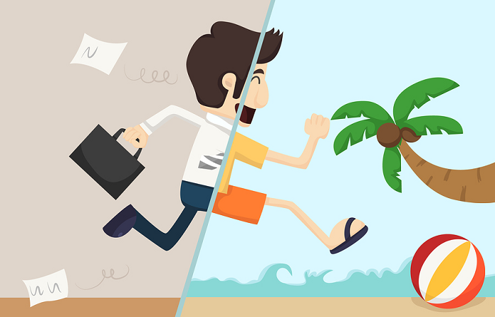 Business man jumping into a beach